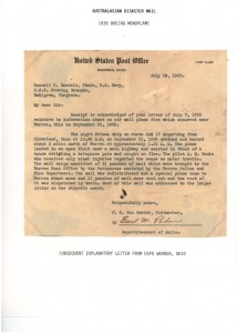 300921 Warren Ohio Forced Landing Fire USPO Letter