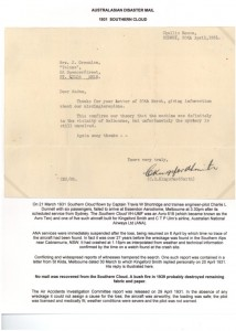 310321 Southern Cloud Letter from Kingsford Smith